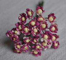 PLUM WHITE GYPSOPHILA / FORGET ME NOT with Beads Mulberry Paper Flowers